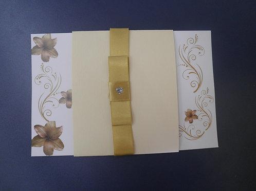 Convite Casamento florais dourado 1FE572