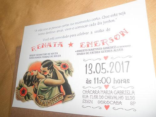 Convite de Casamento Estilo Tatto