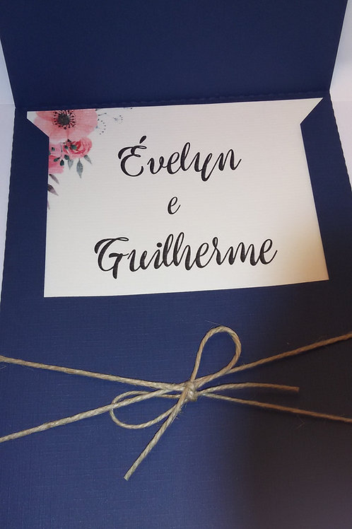 Convite Envelope Azul Marinho