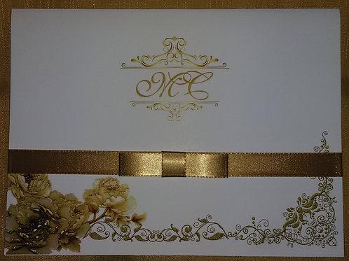 Convite de casamento arabescos dourado
