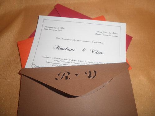 Convite de Casamento iniciais vazadas