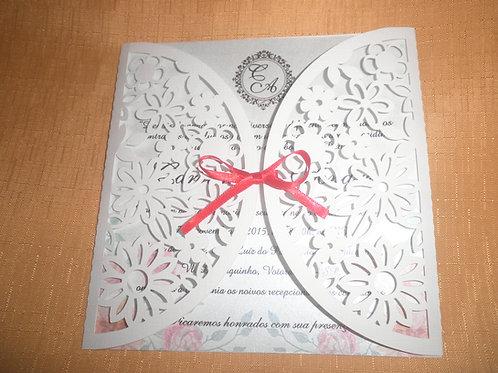 Convite de Casamento florais Vazado