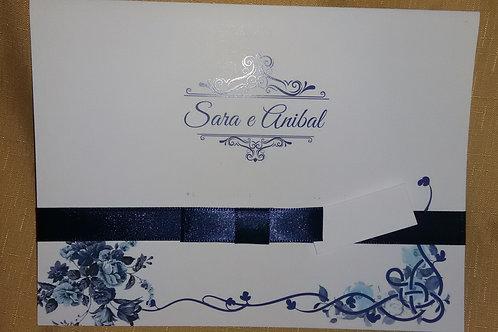 Convite Casamento arabescos azuis