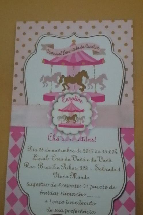 Convite Chá de bebe Carrossel Rosa