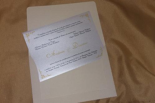 Convite Envelope Aba reta marfim