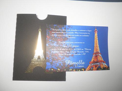 Convite 15 anos envelope luva paris