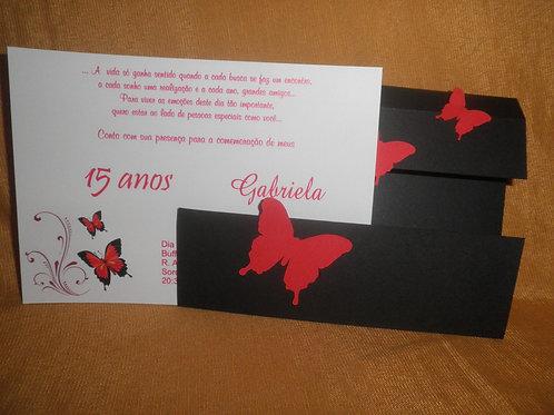 Convite 15 anos borboleta vermelha 241DA