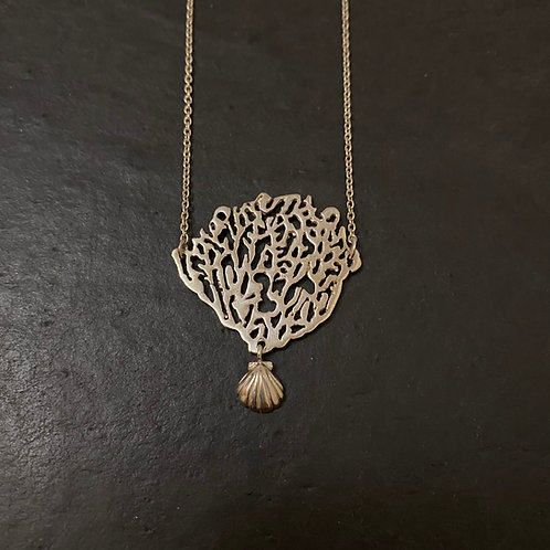 Coral & Shell Necklace Silver