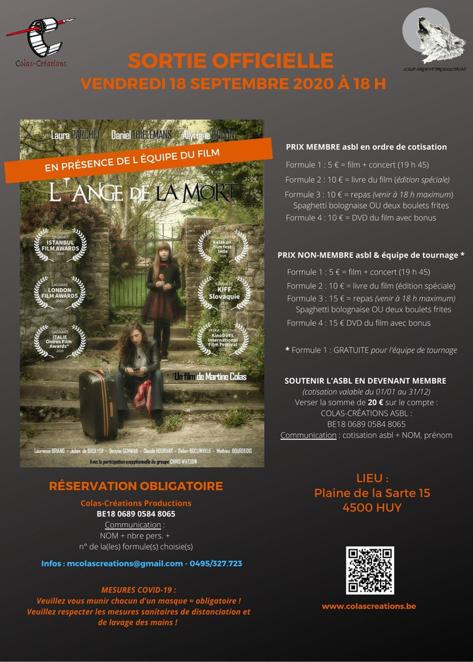 Sortie officielle du film L'Ange de la Mort - Ven 18/09/20 -   18 h à Huy