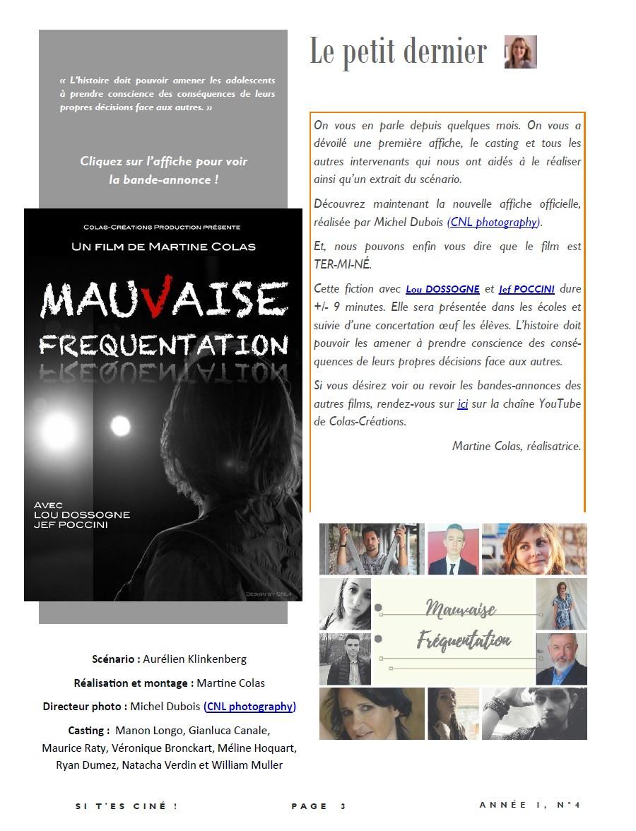 Soirée spéciale projection des courts-métrages de Martine Colas en septembre 2018 avec des séquences inédites