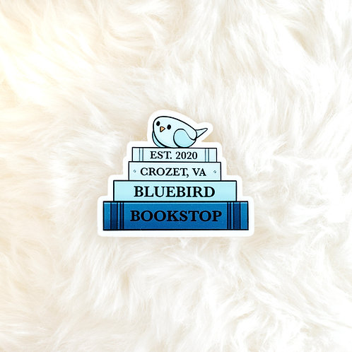 Bluebird Book Stack Sticker