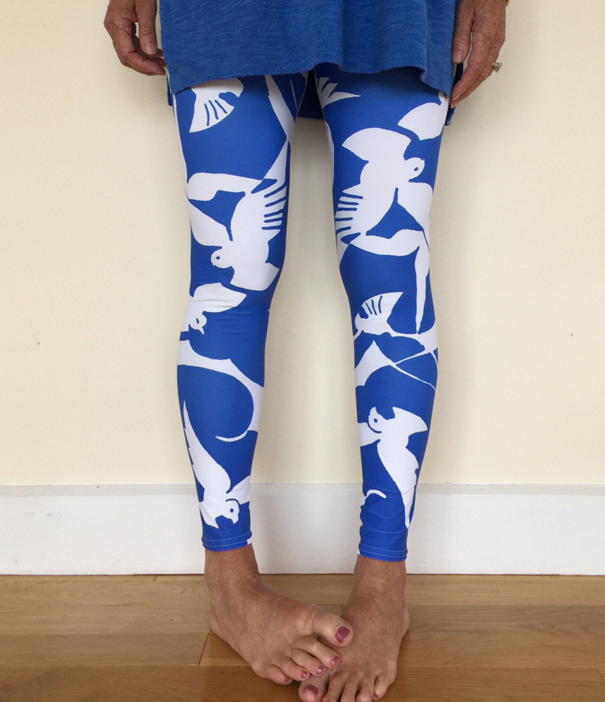 Art leggings Rose and Gaia blue birds