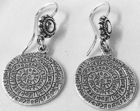 Phaistos Disc earrings (small disc)