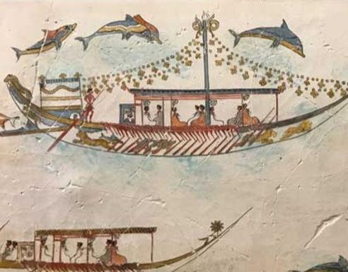 Minoan Flotilla Frieze fresco tile (medium)