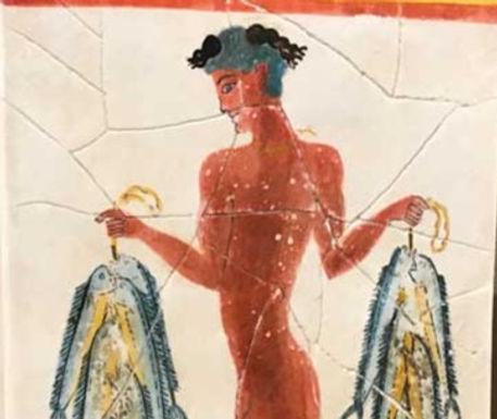 Minoan Fisher Boy fresco tile (small)