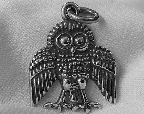 owl on perch pendant