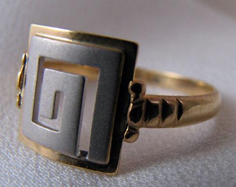 Greek key design two-tone ring (52/M/6.25)