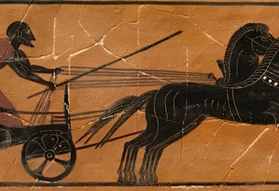black-figure ceramic tile - charioteer