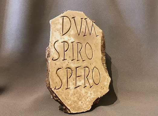 Latin inscription: 'While I breathe, I hope.'