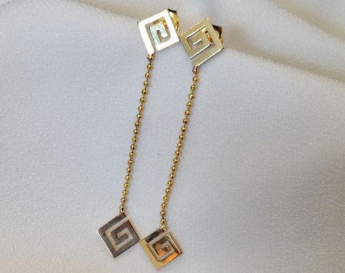 Greek key design long drop earrings