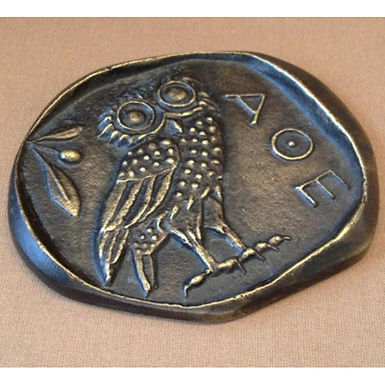 bronze owl of Athena coin paperweight