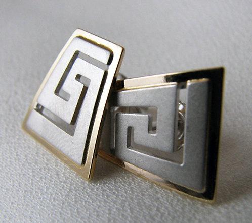 Greek key design trapezoid earstuds