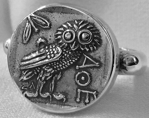 owl of Athena coin ring