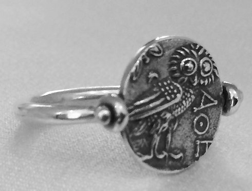 owl and Athena rotating coin ring