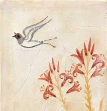 Minoan Spring Fresco tile with single swallow