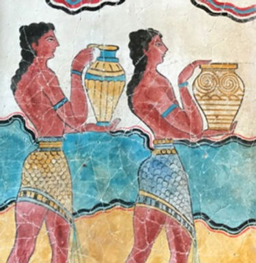 Minoan Procession Fresco - youths with ritual vessels (large)