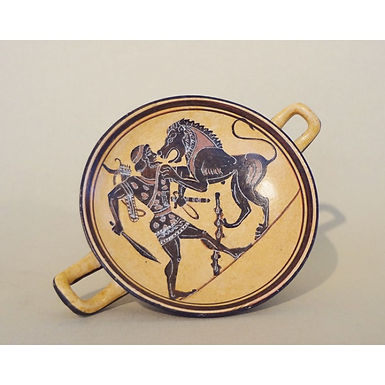 black-figure kylix - Herakles and the Nemean lion
