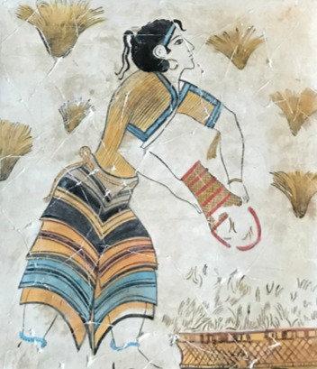 Minoan fresco tile: saffron-gatherer (3)