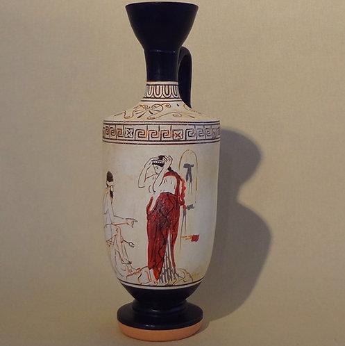 white-ground lekythos: Hermes and a soul