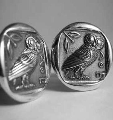 owl of Athena coin cufflinks (large)