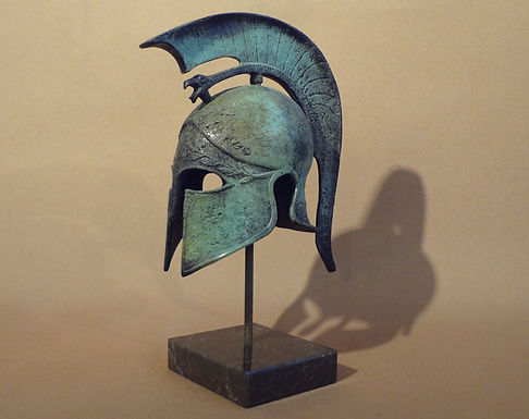 small/medium bronze helmet with griffin and olive