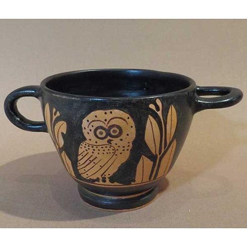 red-figure owl skyphos