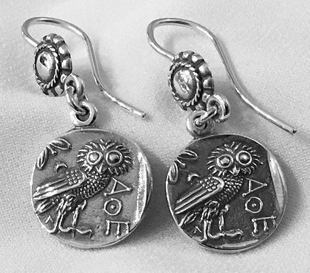 owl of Athena coin earrings