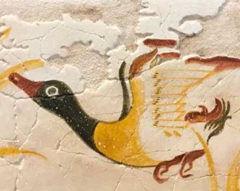 Minoan fresco tile of a duck