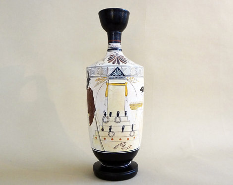 white-ground lekythos: offerings at a tomb