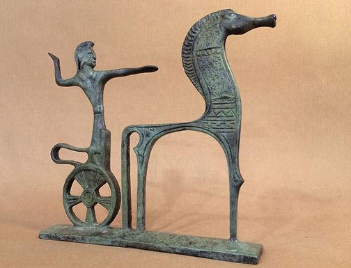 bronze horse with spirited warrior