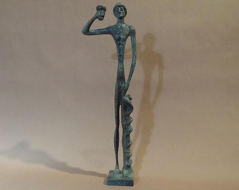bronze slimline statue of Asklepios, god of medicine and healing