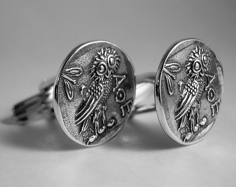 owl of Athena coin cufflinks (small coin)