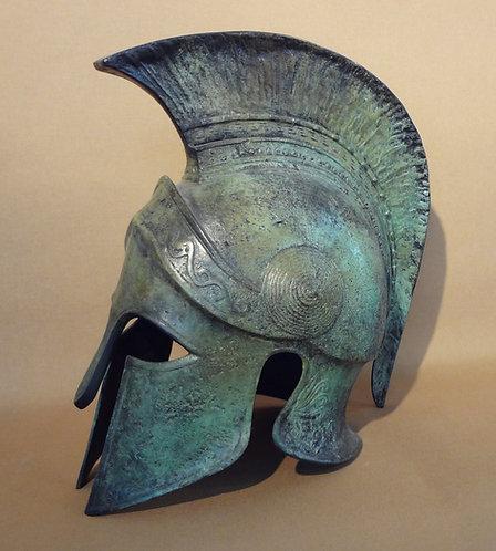 large bronze freestanding crested helmet