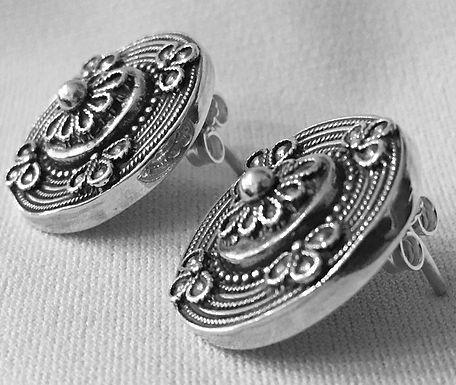 woven ornate shield earrings