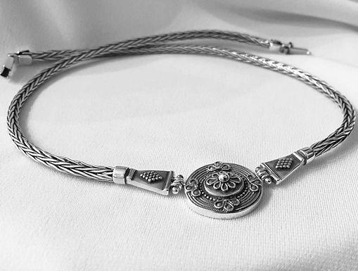 woven ornate shield necklace