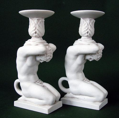 marble satyr candlesticks pair