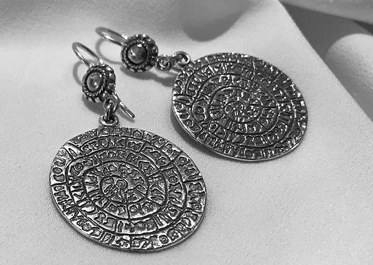 Phaistos Disc earrings (medium disc)