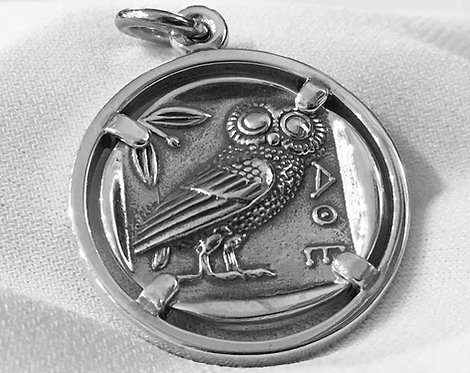 owl and Athena coin pendant (large)