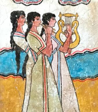 Minoan Procession Fresco  - female musicians (small)