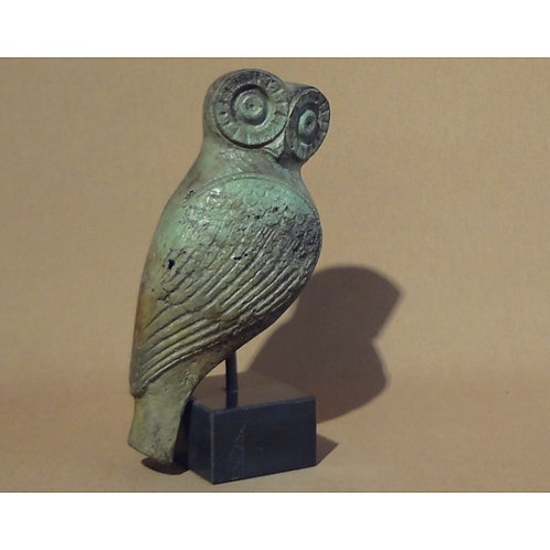 large bronze pensive owl